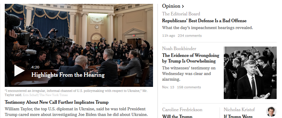 New York Times Online headlines 14th November 2019